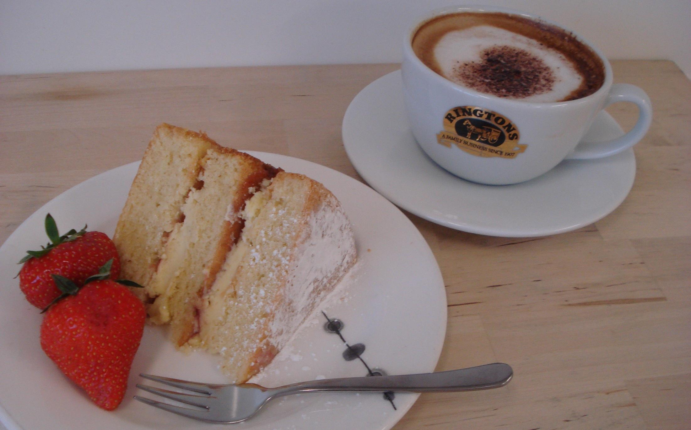photo of a Victoria sponge cake and coffee